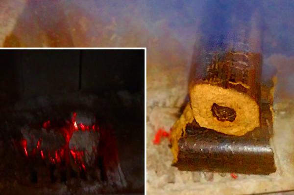 Воспламенение дубовых брикетов от углей дубовых брикетов.