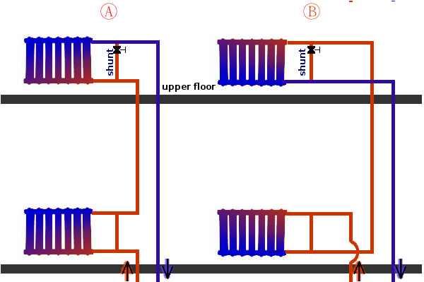 Схема отопления с нижней